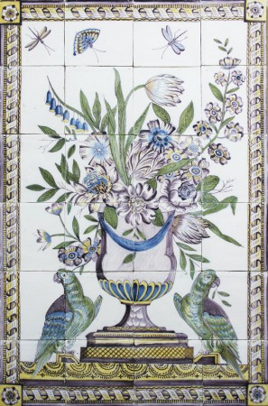 Antique Dutch Delft tile mural with a polychrome flower vase and two parrots, 19th century
