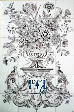 Manganese antique Delft tile mural with a large flower vase decorated with a scutcheon, 18th century