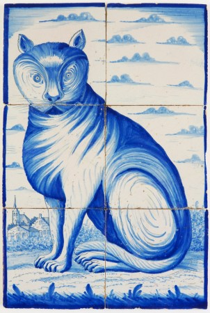 Antique Delft tile mural in blue with a hypnotizing cat, 19th century