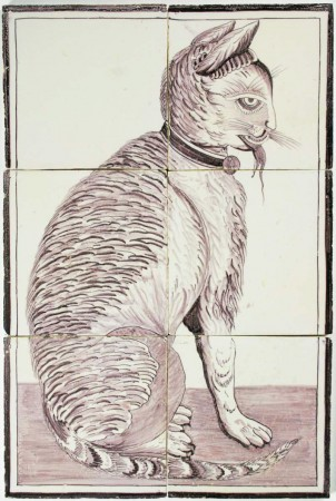 Dutch Delft manganese tile mural depicting a cat