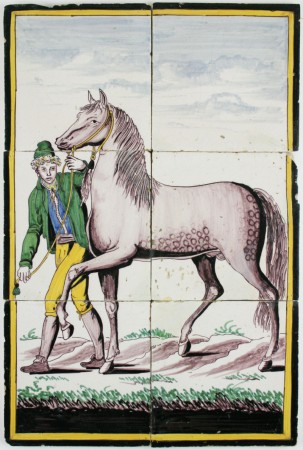 Antique Dutch Delft polychrome tile mural with a horse and a farmer, 19th century