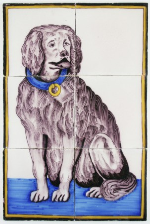 Antique Dutch Delft polychrome tile mural with a dog wearing a collar, 19th century