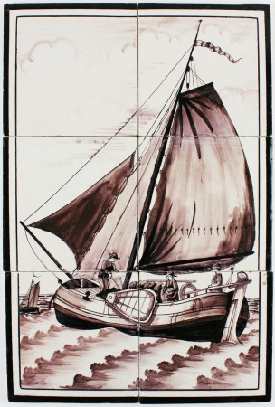 Antique Dutch Delft tile mural with a sailing boat, 19th century
