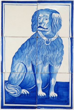 Antique Delft tile mural with a dog in blue, 19th century