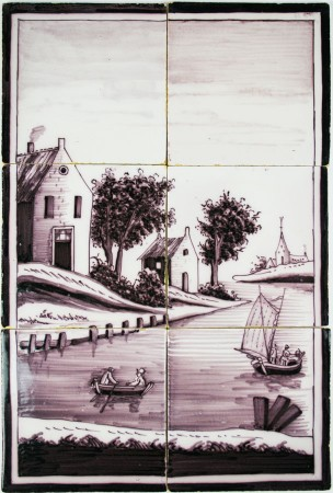Dutch Delft tile landscape mural in manganese
