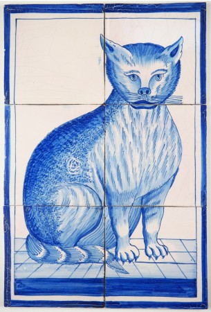 Antique Delft tile with a cat in blue, 19th century