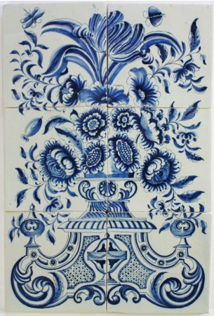 Antique Dutch tile mural with flower vase in blue