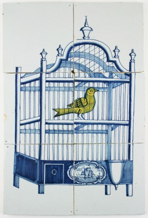 Antique Dutch Delft tile mural in blue with a bird cage and a canary, 18th century