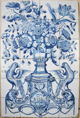 Antique Dutch Delft tile mural with a flower vase and parrots in blue, 18th century