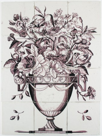 Manganese antique Dutch Delft tile mural with a wonderful flower vase, 18th century