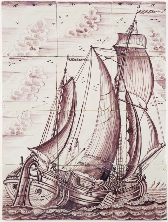 Antique Delft tile mural in manganese depicting a Koff ship under sail, 18th century
