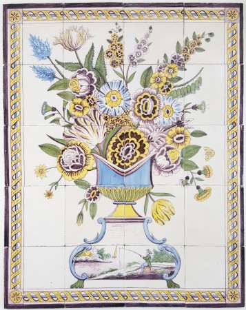 Antique delft tile mural with a wonderful polychrome for Delft tile mural