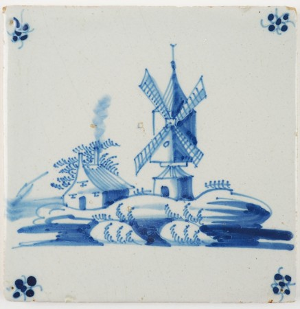 Antique Delft tile depicting a beautiful Dutch landscape with a post mill and a farm, 18th century