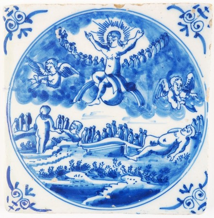 Antique Delft tile depicting the Last Judgment, 18th century