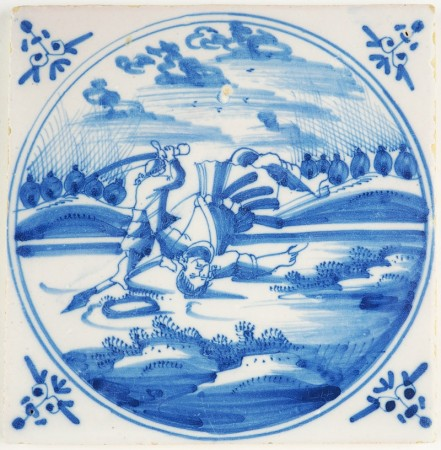 Antique Delft Biblical tile in blue depicting the moment that David defeats Goliath, 18th century