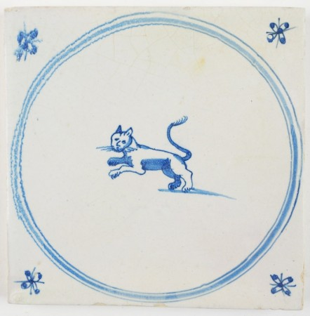 Antique Delft tile in blue with a cat, 18th century
