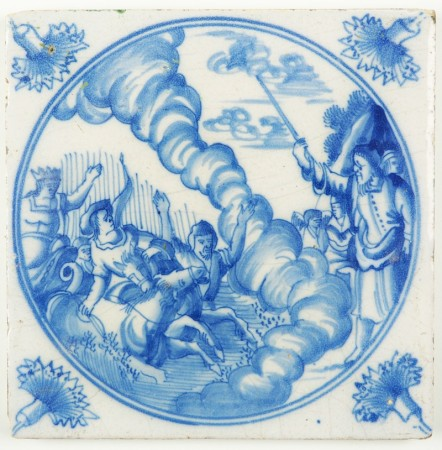 Antique Delft tile with Moses closing the Red Sea, 18th century