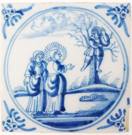 Antique Delft tile depicting Jesus calling Zacchaeus to get down from the three, 18th century