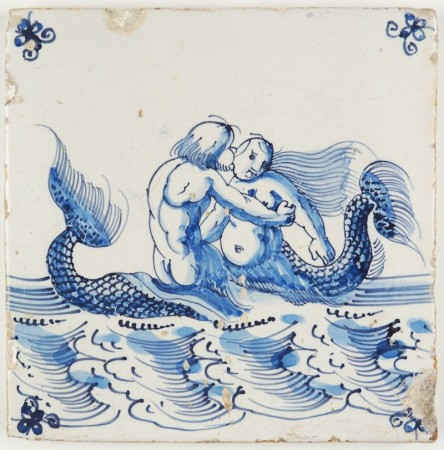 Antique Delft tile with a mermaid and merman in a romantic scene, 17th century Harlingen
