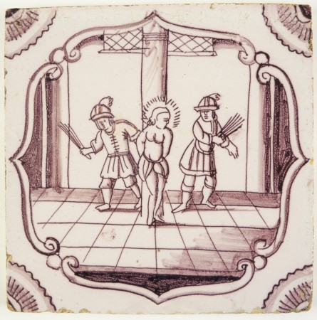 Antique Delft Biblical tile in manganese depicting the Flagellation of Christ, 18th century Rotterdam