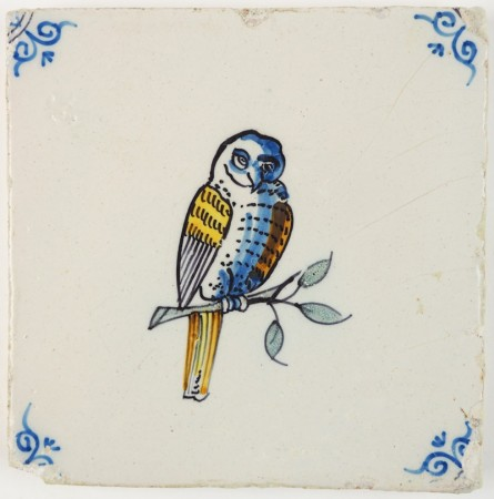 Antique Delft polychrome tile with an owl on a branch, 17th century