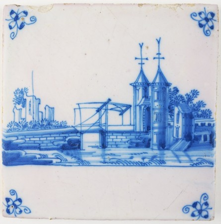 Antique Delft tile in blue with a city gate and a drawbridge, 18th century