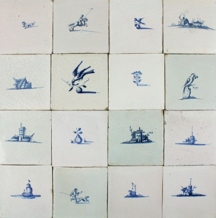 Antique Delft wall tiles with small landscapes in blue, 17th century