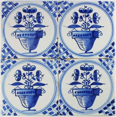 Antique Dutch Delft wall tiles with flower pots in blue 'Napoleon'