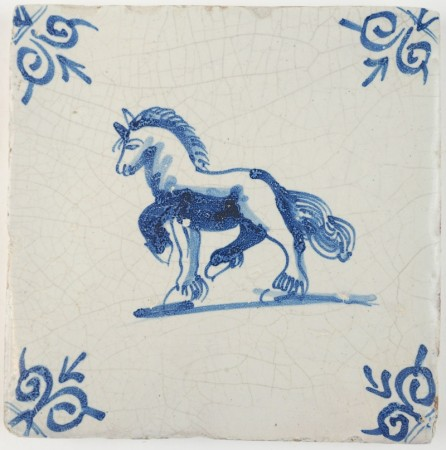 Antique Delft tile in blue with a Frisian horse, 17th century