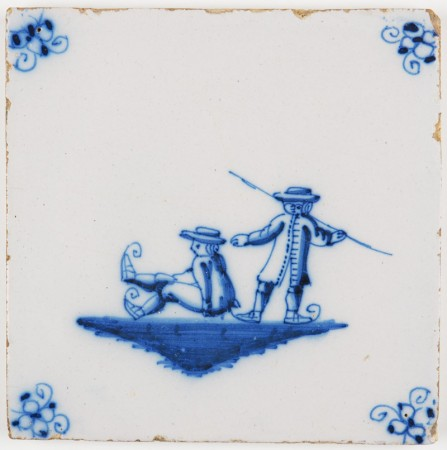 Antique Delft tile with two children skating on ice, 18th century