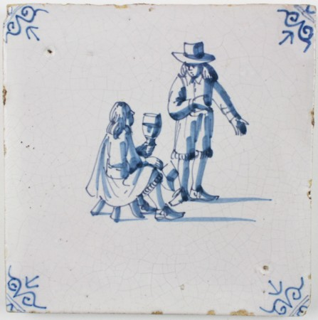 Antique Delft tile with two well respected men having a conversation and enjoying a drink, 17th century