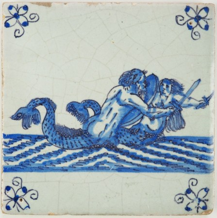 Antique Delft tile with a mermaid and merman wielding swords, 17th century