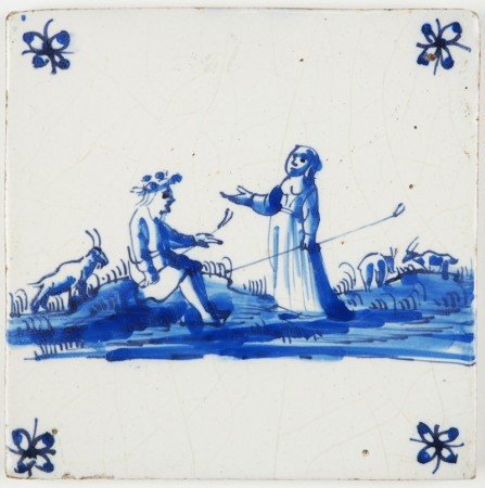 Antique Dutch Delft tile with shepherds and their goats in a landscape, 17th century