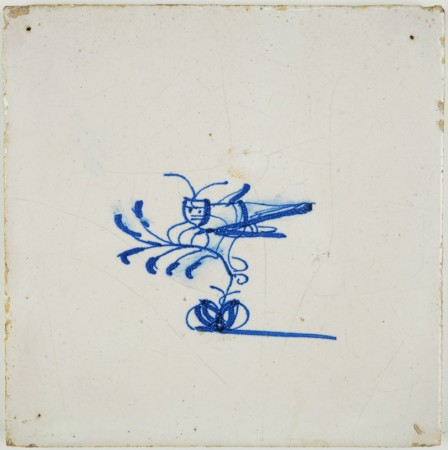 Antique Delft tile with a grasshopper in blue, 17th century