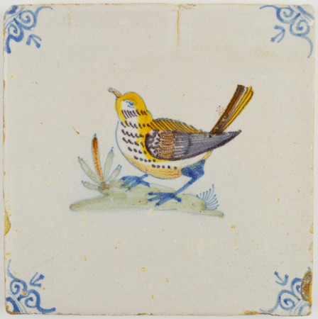 Antique Delft tile with a polychrome bird (sparrow), 17th century
