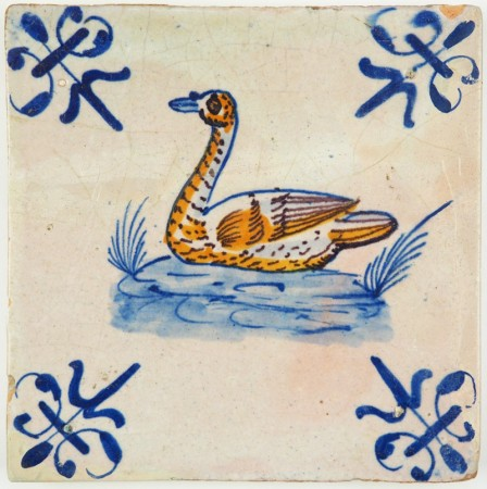 Antique Delft tile with a beautiful polychrome Swan, 17th century