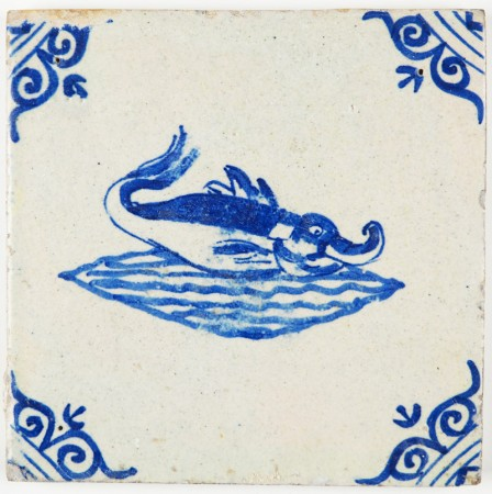Antique Delft tile with a sea creature with a trunk in a unusual depicted sea, 17th century