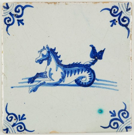Antique Delft tile with a Seahorse in blue, 17th century
