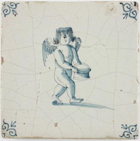 Antique Dutch Delft tile with Cupid carrying a basket, 17th century