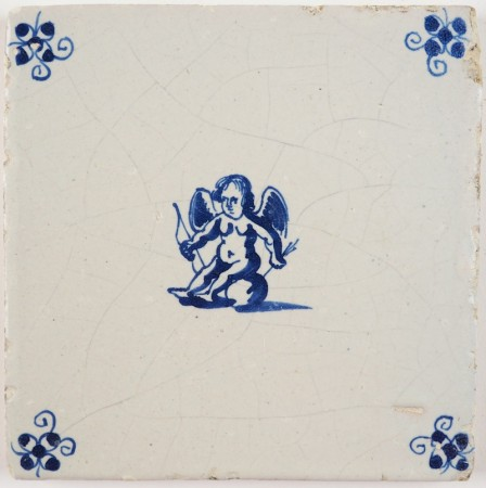 Antique Delft tile in blue with Cupid holding his bow and arrow, 17th century