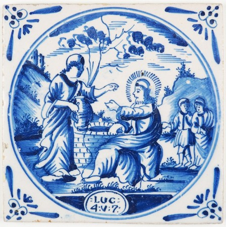 Antique Delft biblical tile depicting Jesus and the Samaritan woman, 18th century