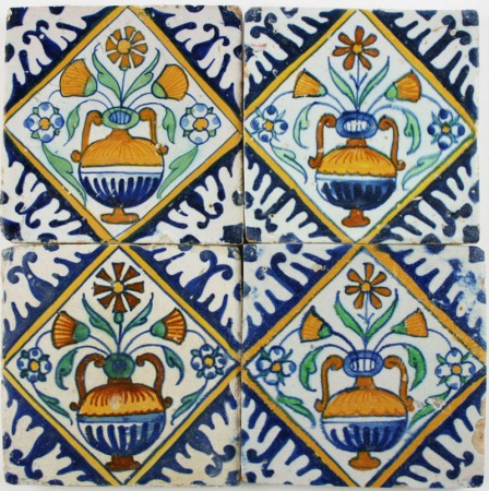 Antique Dutch Delft wall tiles with polychrome flower pots in square