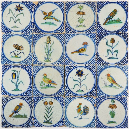 Antique Delft wall tiles with polychrome flowers, animals and insects with Wanli corner motifs, 17th century