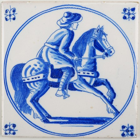 Antique Delft tile with a beautiful horse rider in blue, late 19th or early 20th century