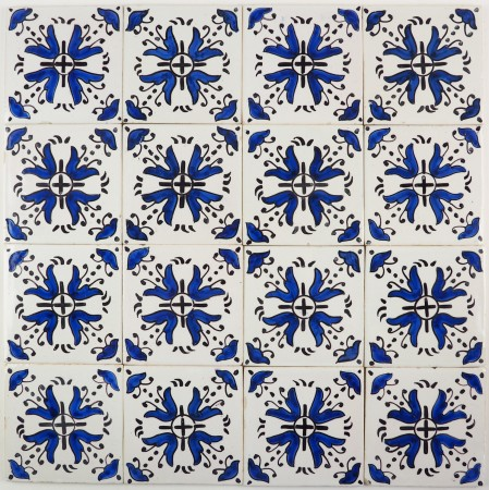 Antique Delft wall tiles in blue known as Clocks, 19th and 20th century