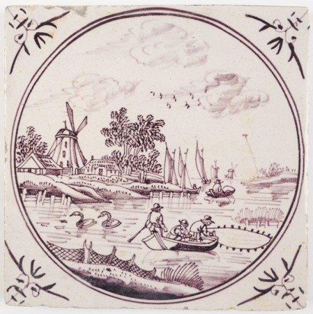 Fine painted antique Delft landscape tile in manganese with men fishing near a typical Dutch village, 18th century
