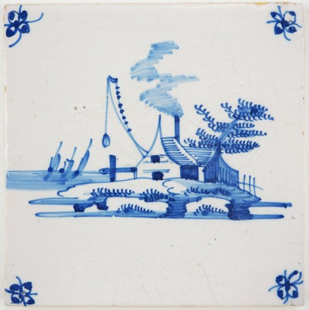 Antique Delft landscape tile depicting a coastal vilage with a fire beacon, 18th century