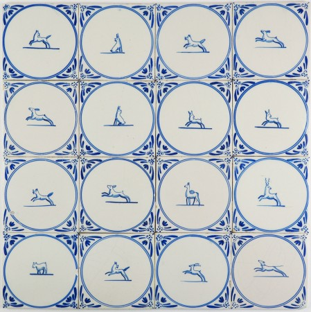 Antique Delft wall tiles in blue with animals in a cirlce 'springers', late 19th century
