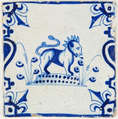 Antique Dutch Delft tile with a lion in blue, 17th century