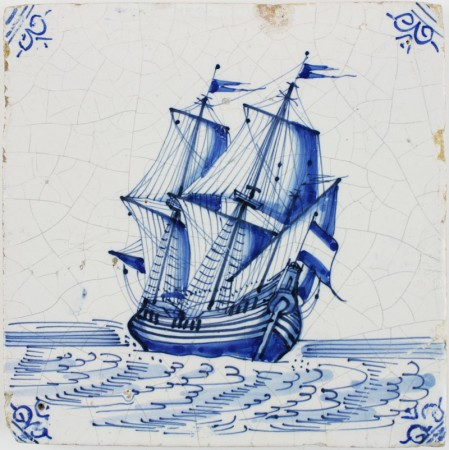 Antique Dutch Delft tile with a tall ship under sail in blue, 17th century